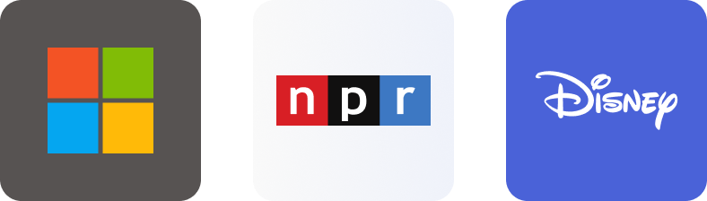 Micrisoft, NPR, and Disney logos